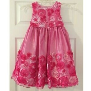 Pink flower girl Easter formal ombre dress gown 6
